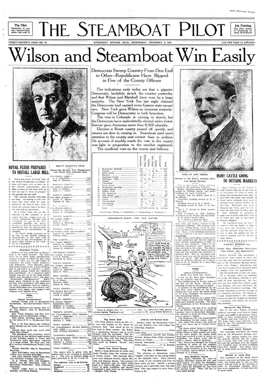 Front page of 1912 Steamboat Pilot