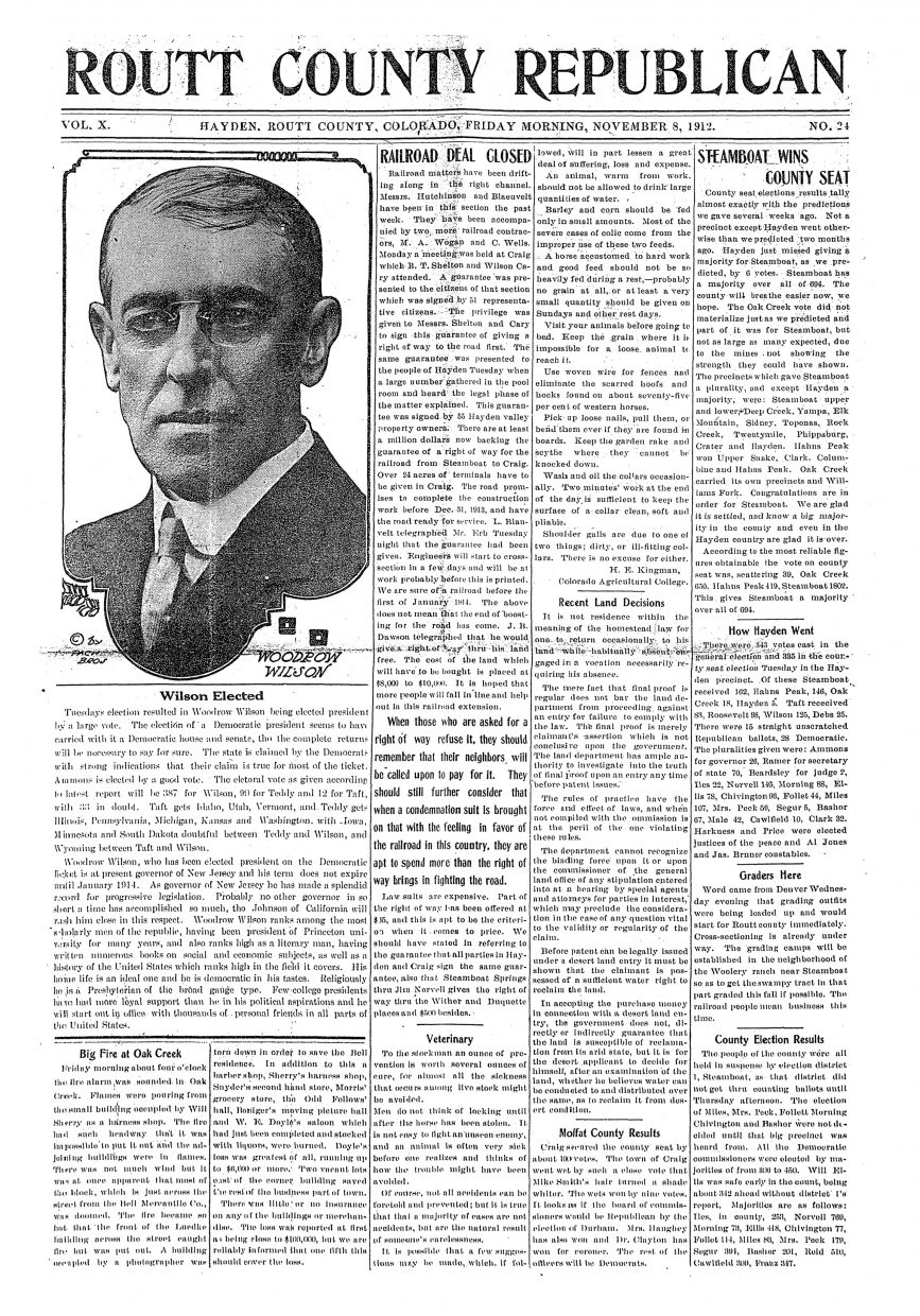 Front page of 1912 Routt County Republican