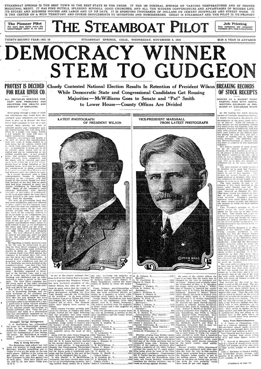 Front page of 1916 Steamboat Pilot