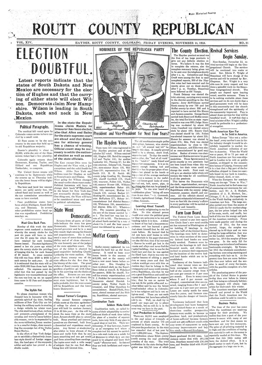 Front page for 1916 Routt County Republican