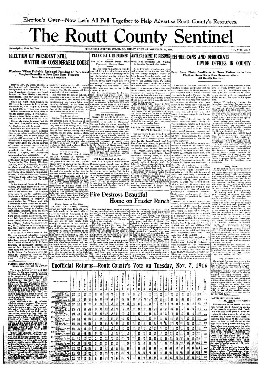 Front page of 1916 Routt County Sentinel