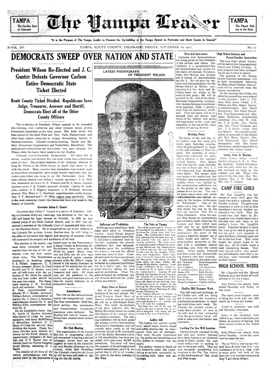 Front page of 1916 Yampa Leader