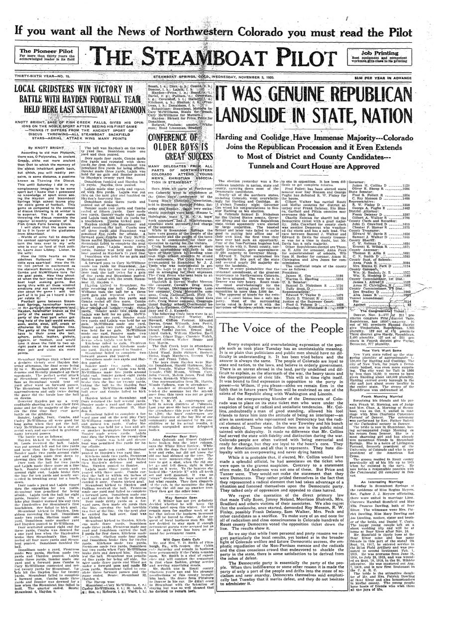 Front page of 1920 Steamboat Pilot