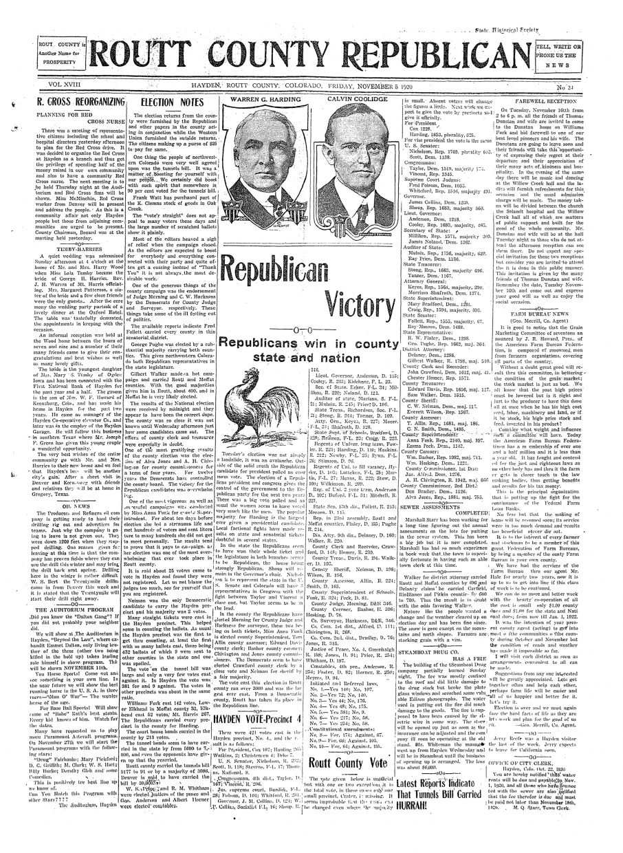 Front page of 1920 Routt County Republican