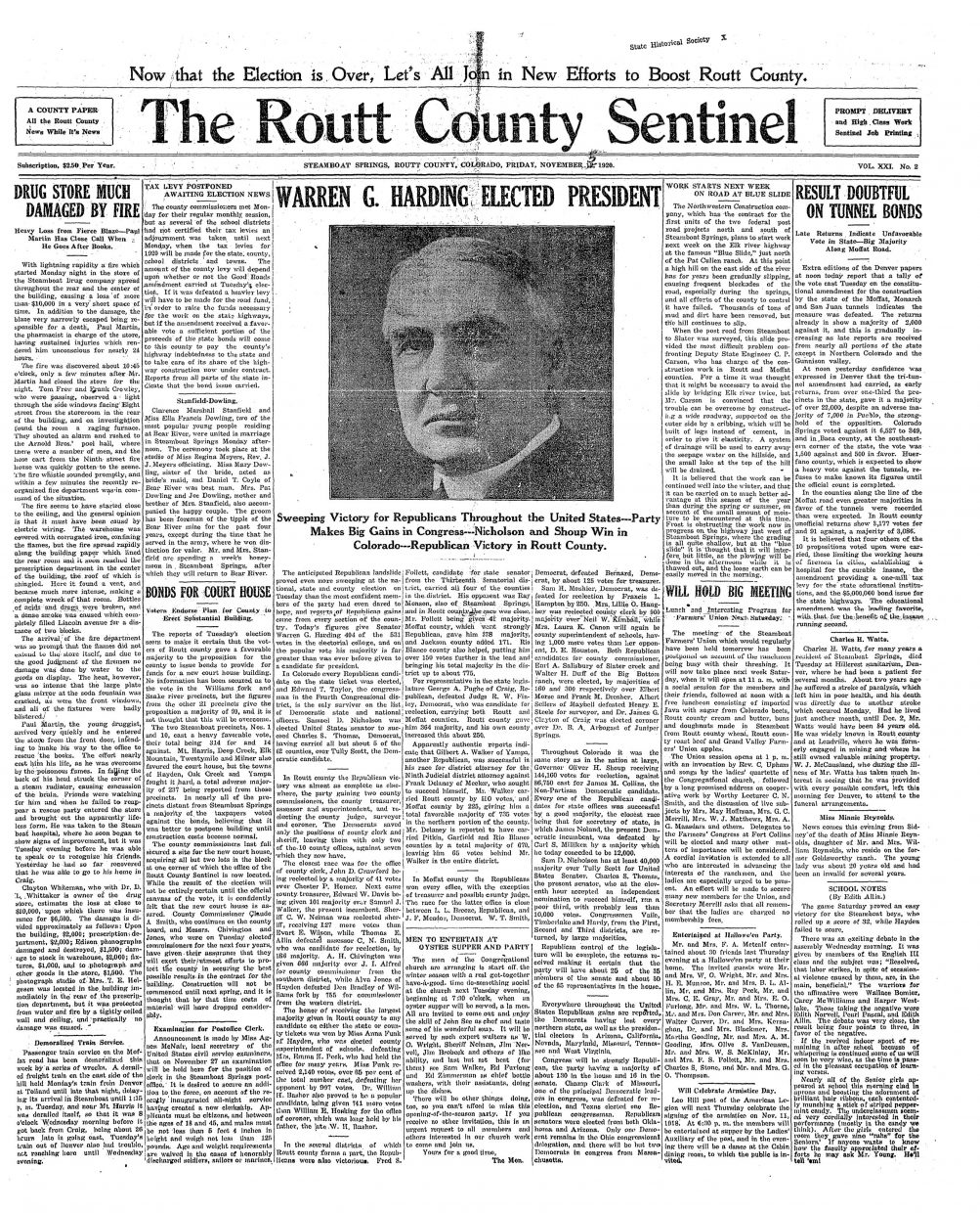 Front page of 1920 Routt County Sentinel