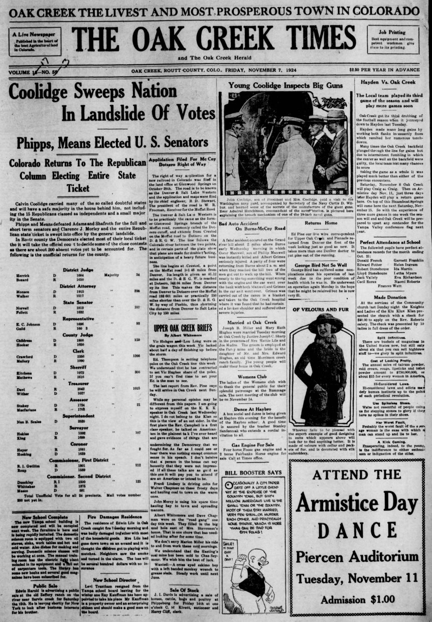 Front page of 1924 Oak Creek Times