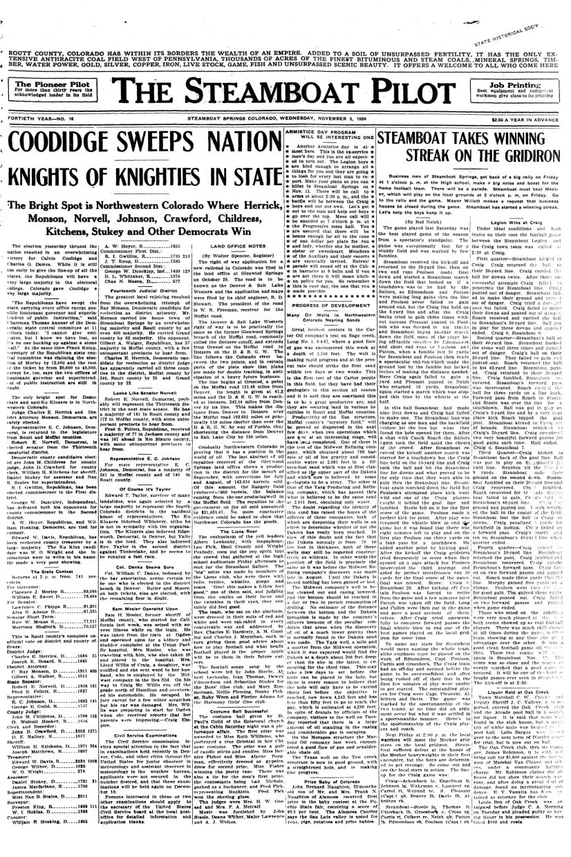 Front page of 1924 Steamboat Pilot