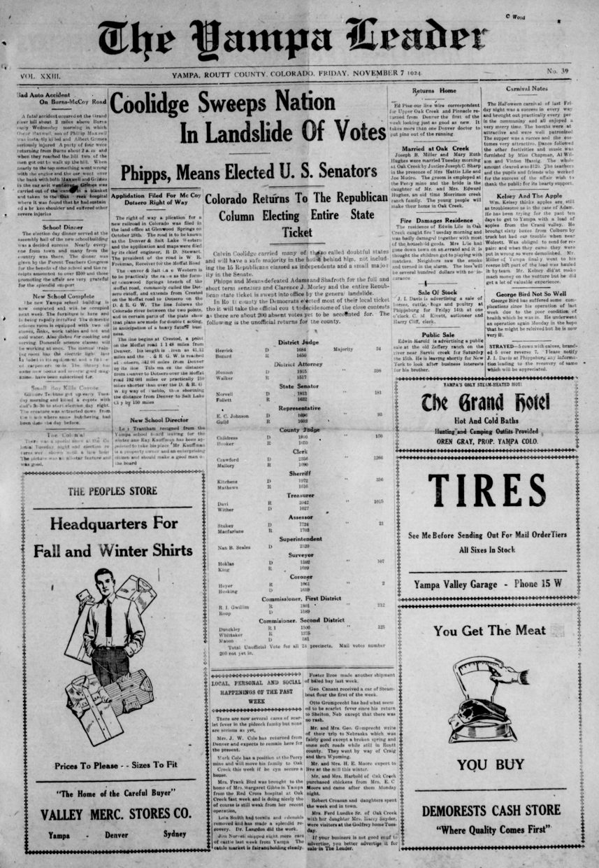 Front page of 1924 Yampa Leader