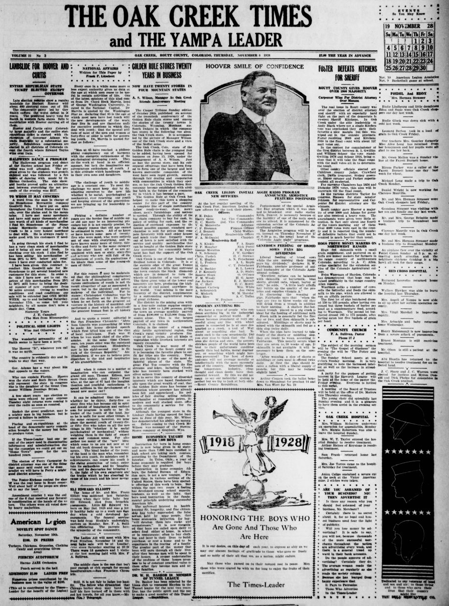Front page of 1928 Oak Creek Times