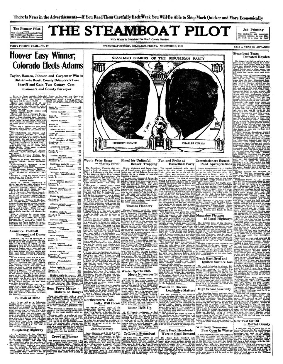 Front page 1928 Steamboat Pilot