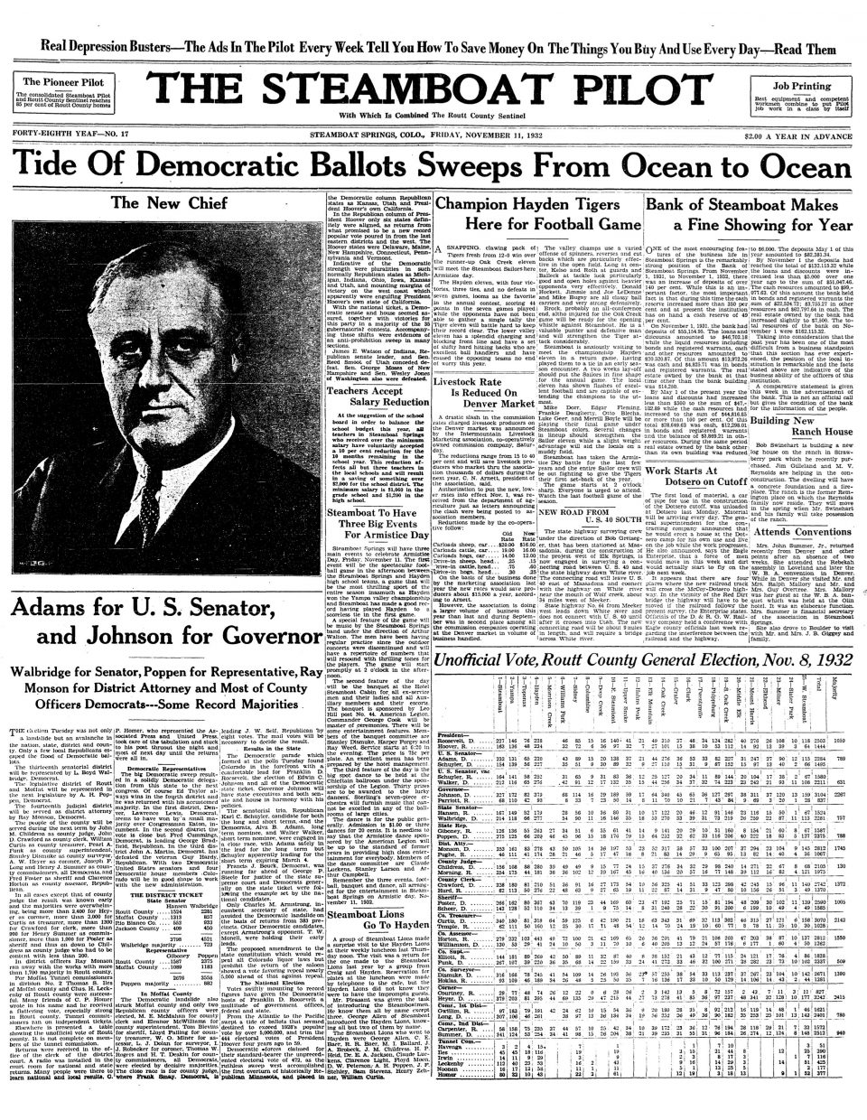 Front page of 1932 Steamboat Pilot