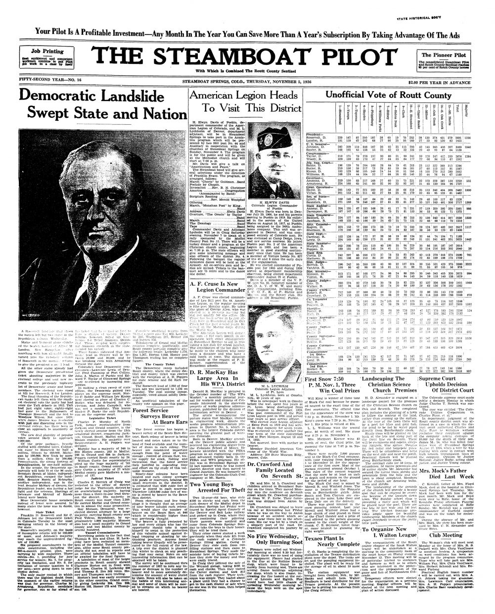 Front page of 1936 Steamboat Pilot