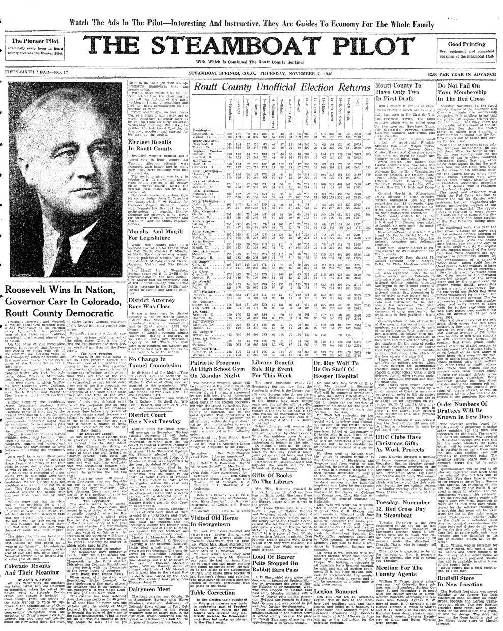 Front page of 1940 Steamboat Pilot
