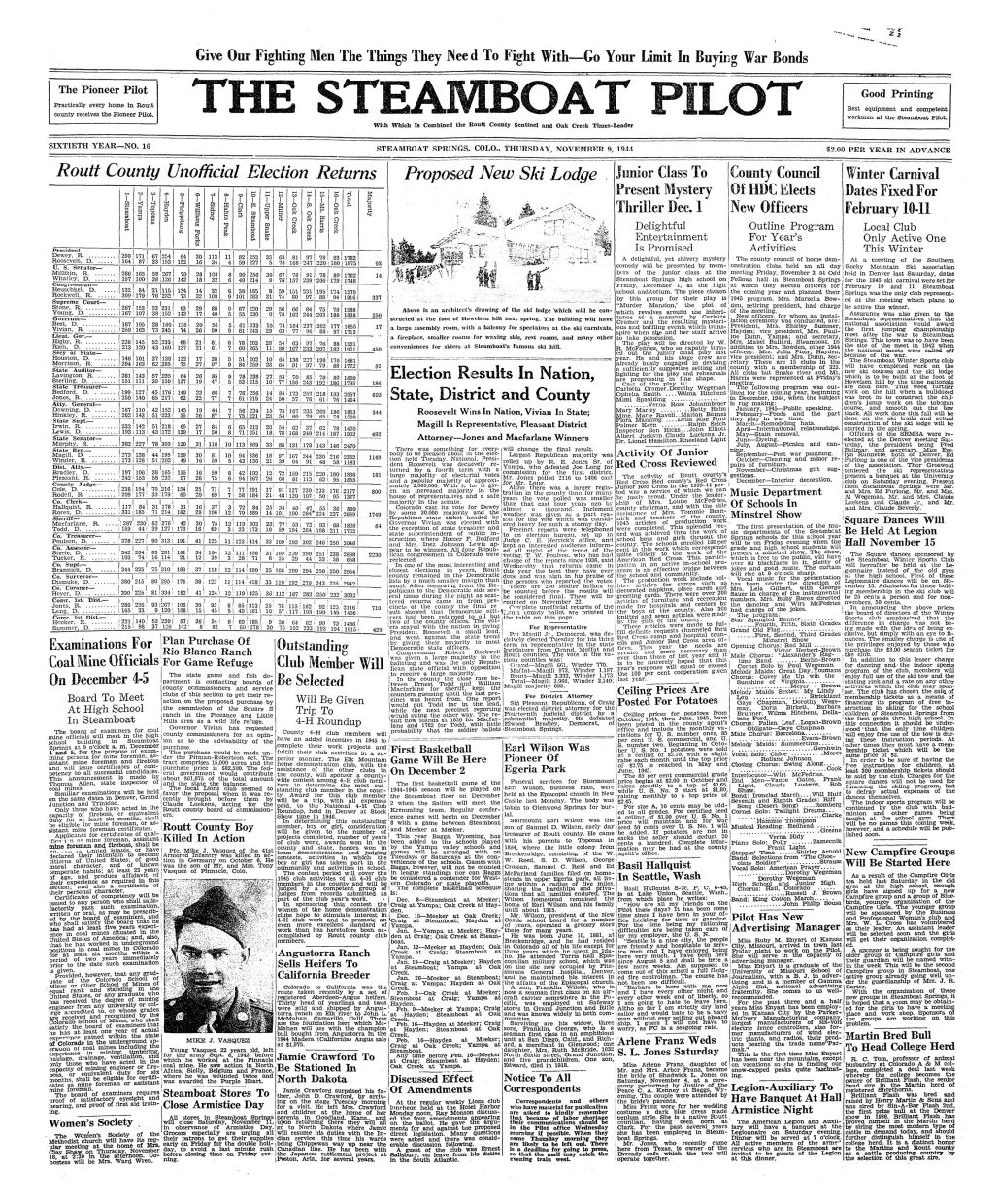 Front page of 1944 Steamboat Pilot