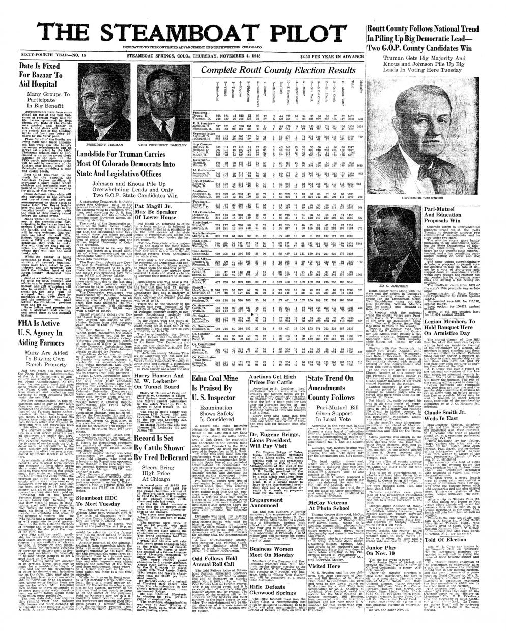 Front page of 1948 Steamboat Pilot
