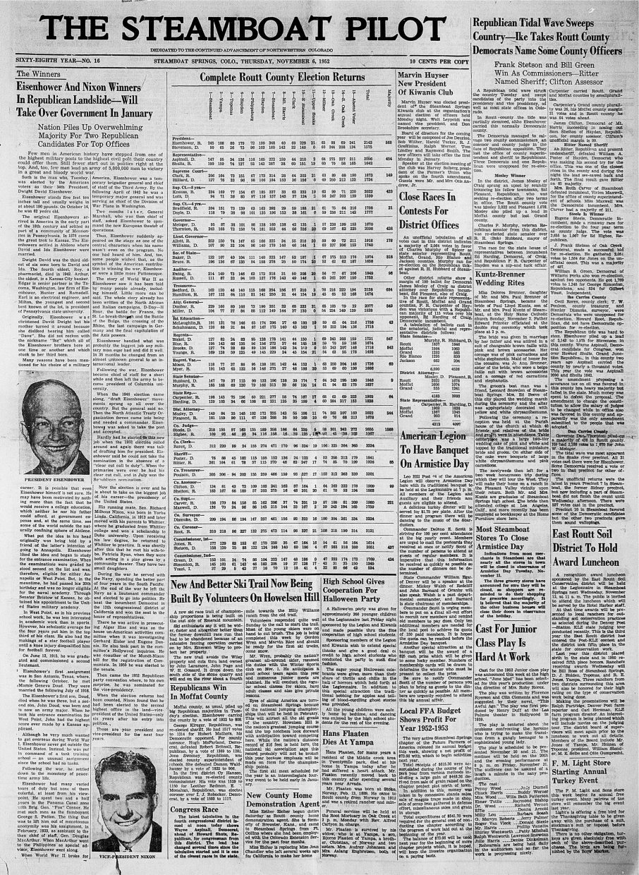 Front page of 1952 Steamboat Pilot