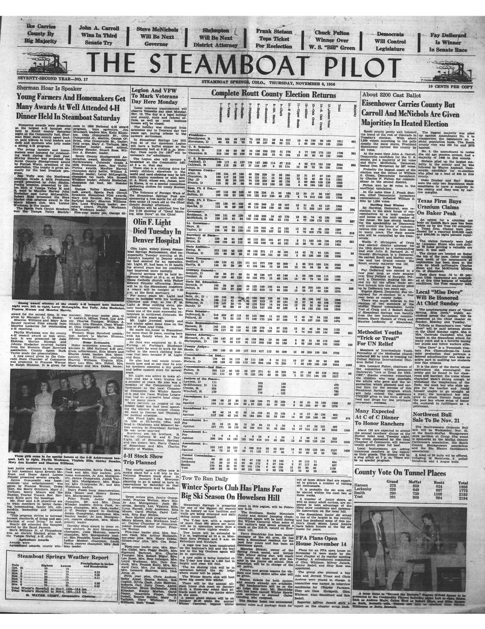 Front page of 1956 Steamboat Pilot