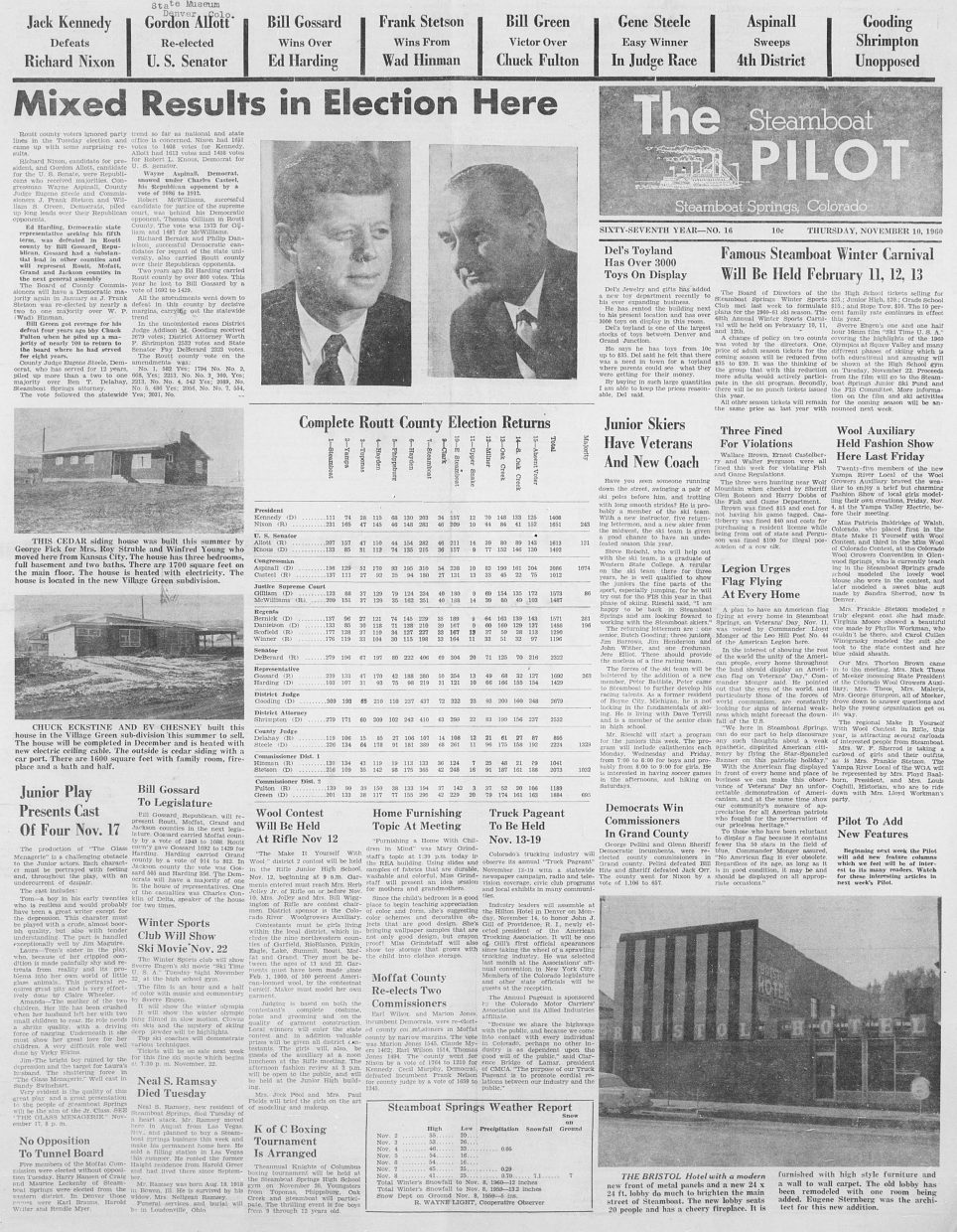 Front page for 1960 Steamboat Pilot