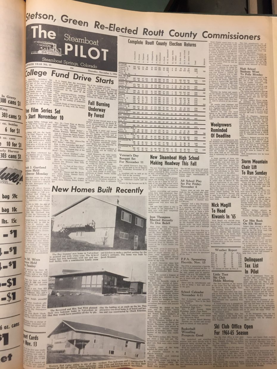 Front page of 1964 Steamboat Pilot