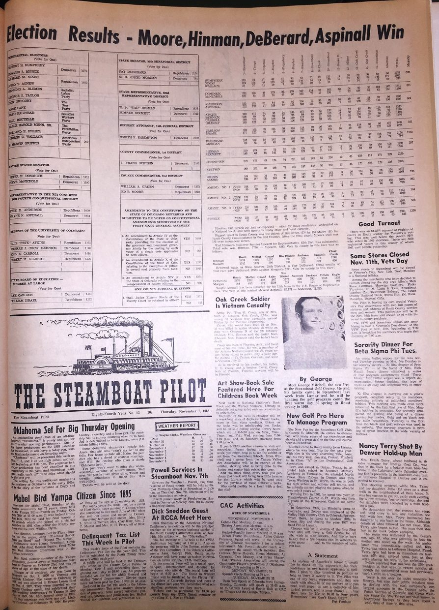 Front page for 1968 Steamboat Pilot