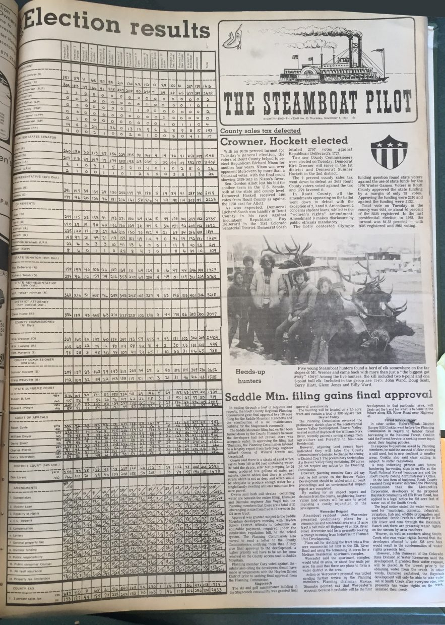 Front page of 1972 Steamboat Pilot