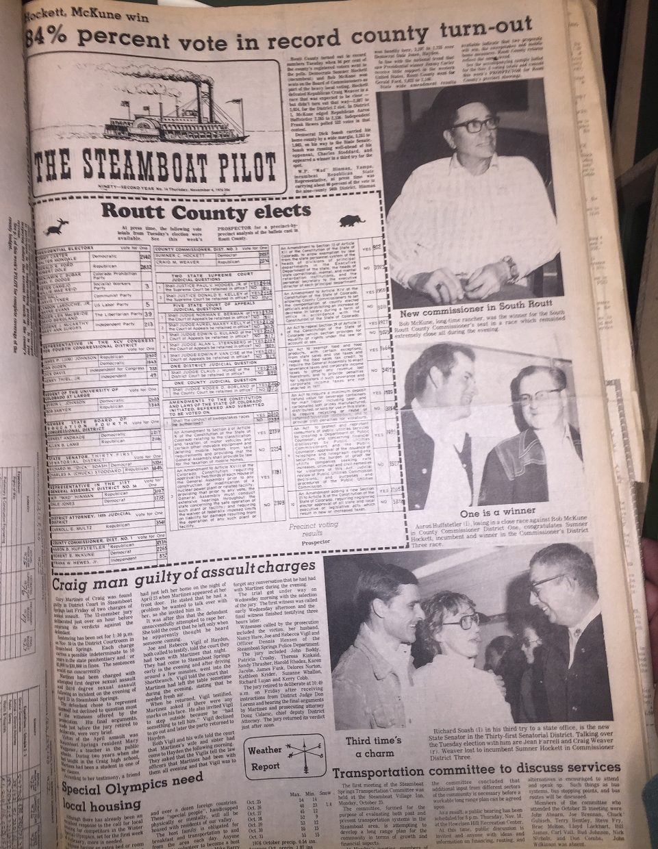 Front page of 1976 Steamboat Today