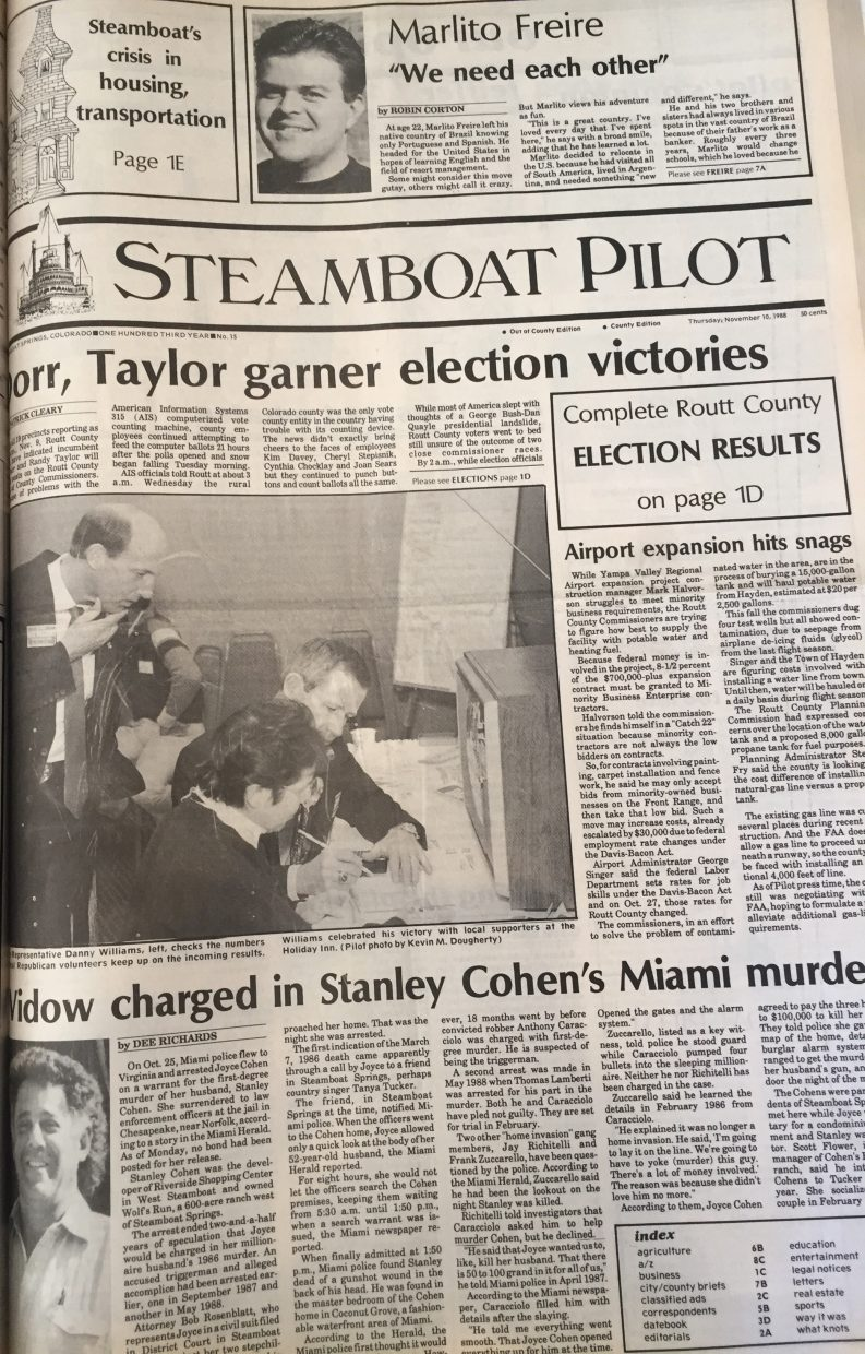 Front page of 1988 Steamboat Pilot