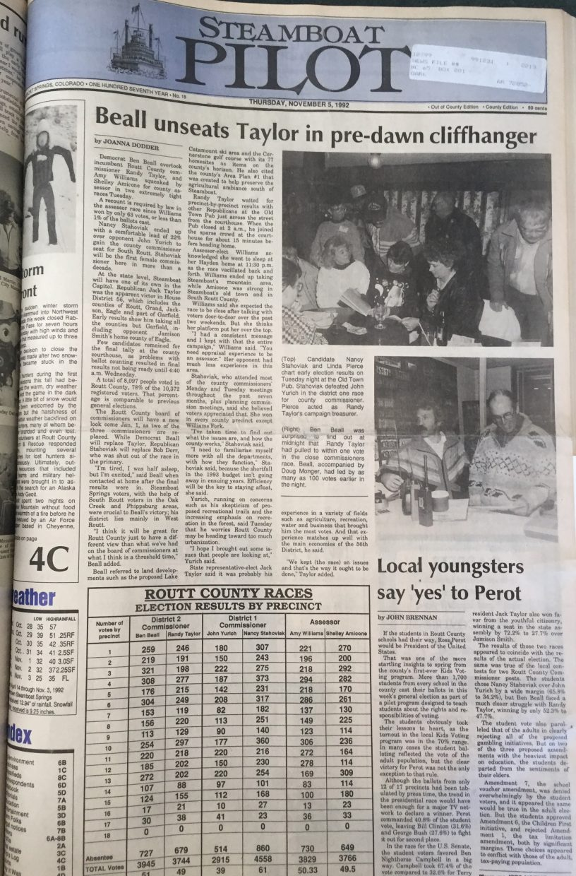 Front page of 1992 Steamboat Pilot