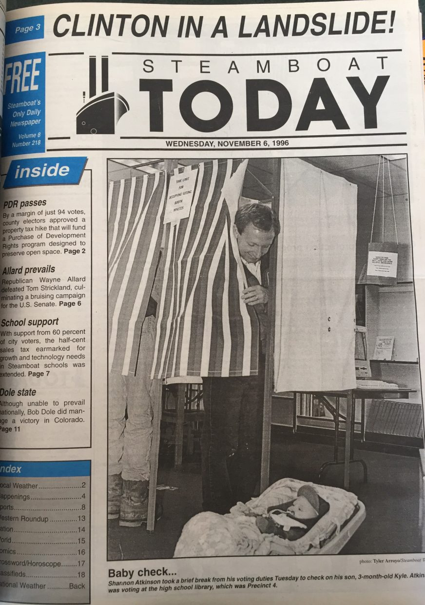 Front page of 1996 Steamboat Today