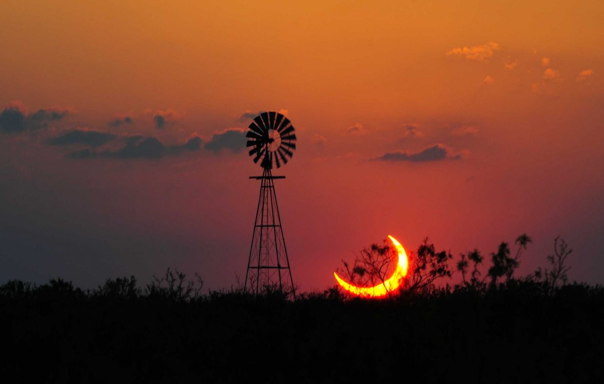 The moon will partially eclipse the sun Oct. 23. The last such eclipse, shown in the photo, happened May 20, 2012, and the next one won't happen until Aug. 21, 2017.