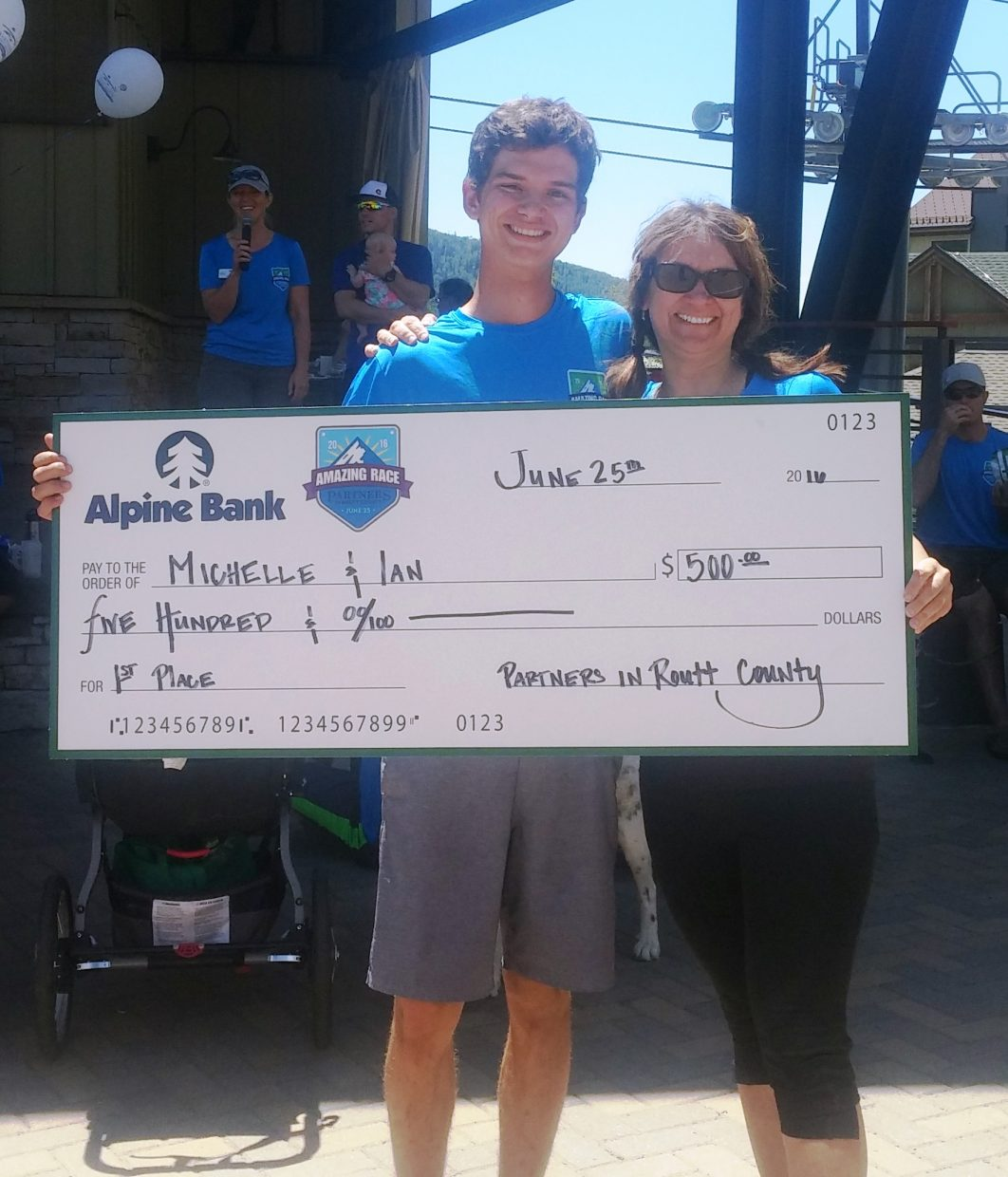 Michelle Caragol and her son Ian won the Partners Amazing Race event.
