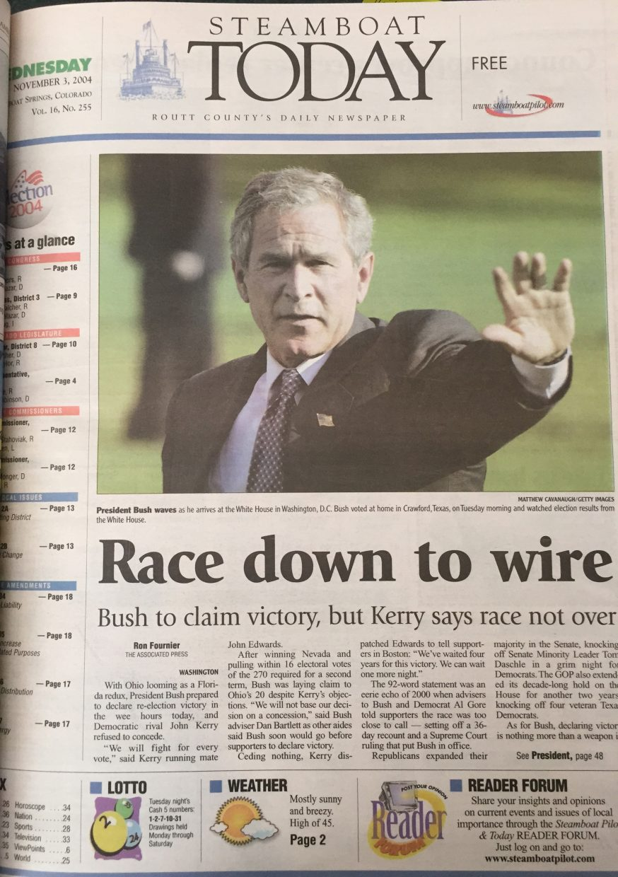 Front page of 2004 Steamboat Today