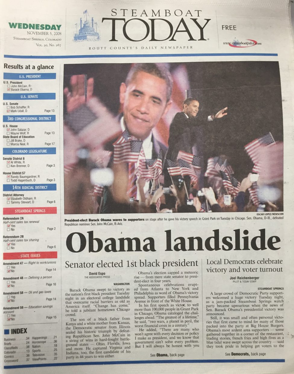 Front page of 2008 Steamboat Today