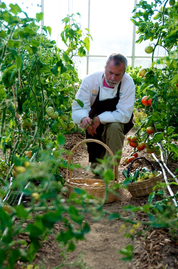 Executive chef Clyde Nelson gathers produce from The Home Ranch's greenhouse. Nelson traveled to New York City with produce from The Home Ranch for a press dinner.