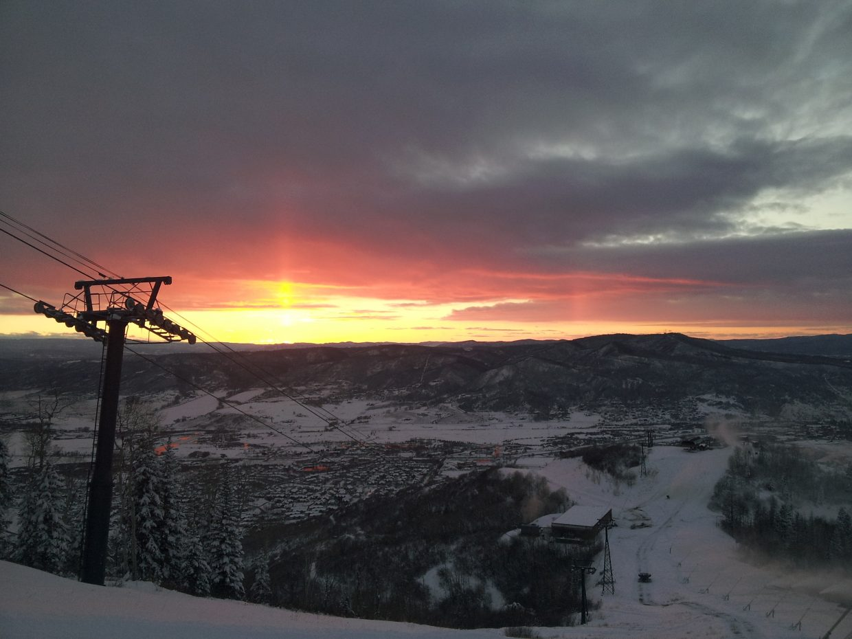 At 5:02 p.m. Tuesday: Snowmaking sunset from Heavenly Daze. Submitted by: Stevo Weaver