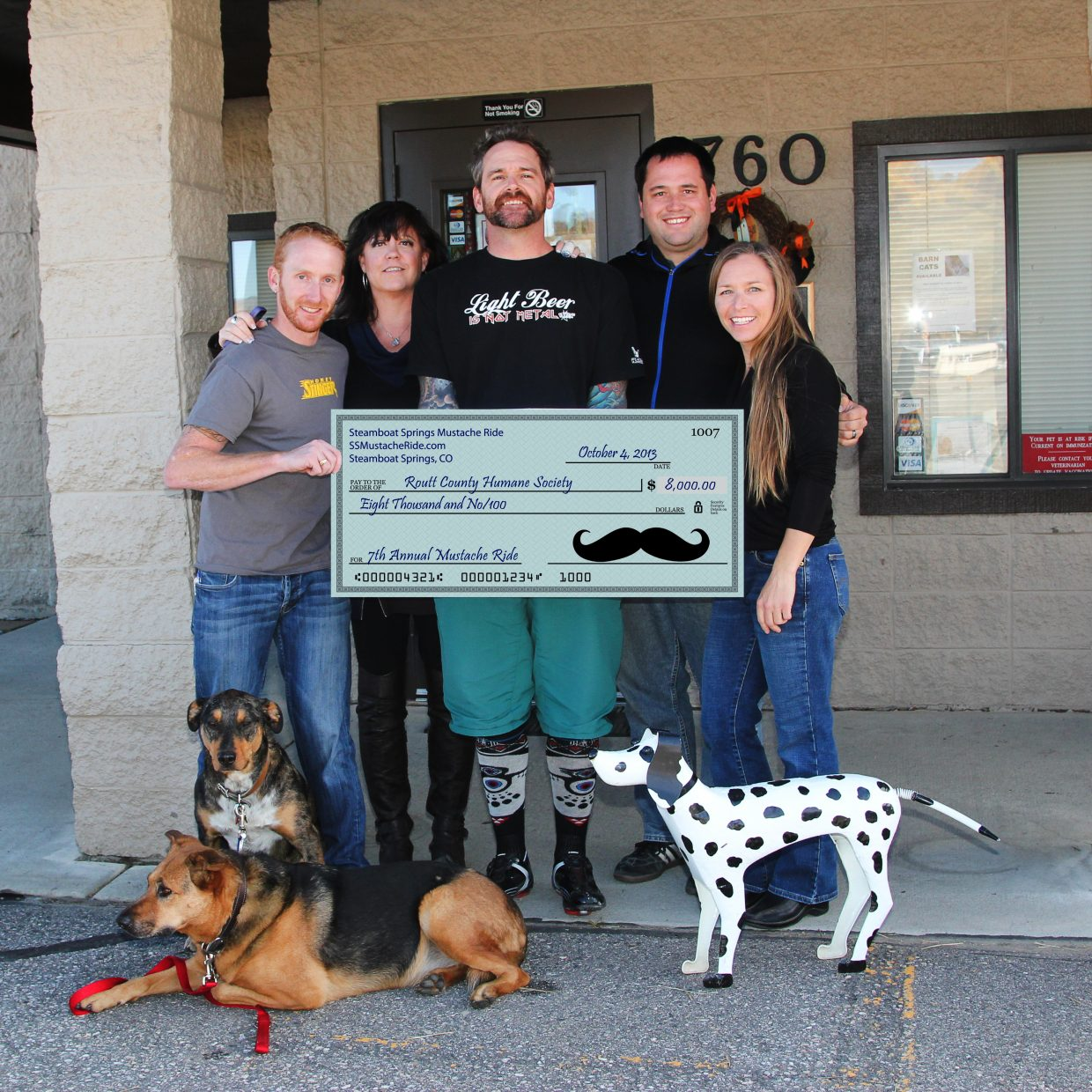 The seventh annual Mustache Ride raised $8,000 for the Steamboat Springs Humane Society. Pictured from left are Nate Bird, Lisa Archer Leach, Rob Peterson, Casey Barnett and Holly Larson.