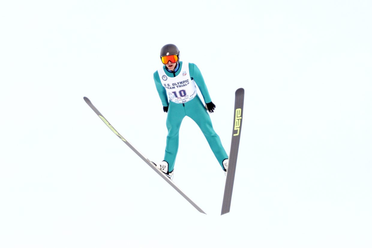 Bryan Fletcher soars through the air in the 2014 Olympic Trials for Nordic combined in Park City, Utah.