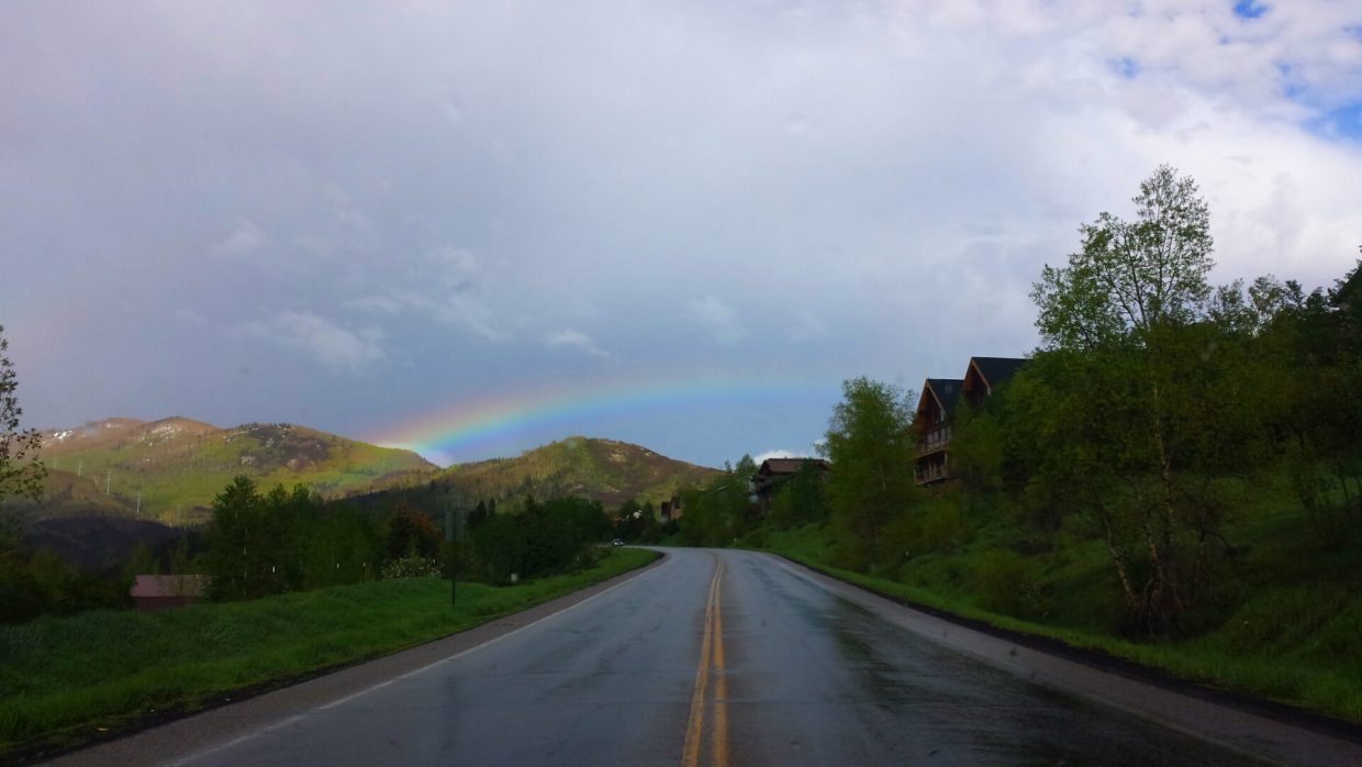 I saw this rainbow after one of our storms. Very beautiful and was only visible for a few moments. Submitted by: Danielle Jerome