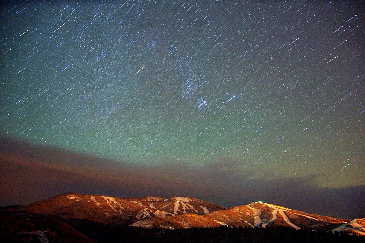 This is Mount Werner around 1:30 a.m. Tuesday morning with a little dusting and some amazing stars. This is a 4 minute exposure combined with a 30 second exposure. Steamboat's Fall Sky. Submitted by: Matt Helm
