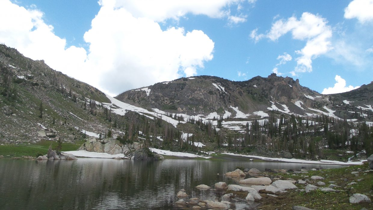 Taking in the vast beauty of Mica Lake, Greg Johnson had a great view looking up to the peak of Little Agnes on one of his hiking trips.