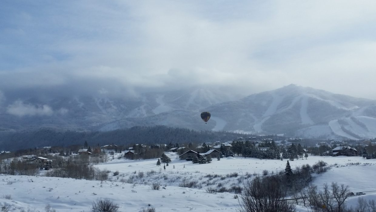 Wild West Balloon floats near Steamboat ski area. Submitted by: Mackenzie Yelvington.