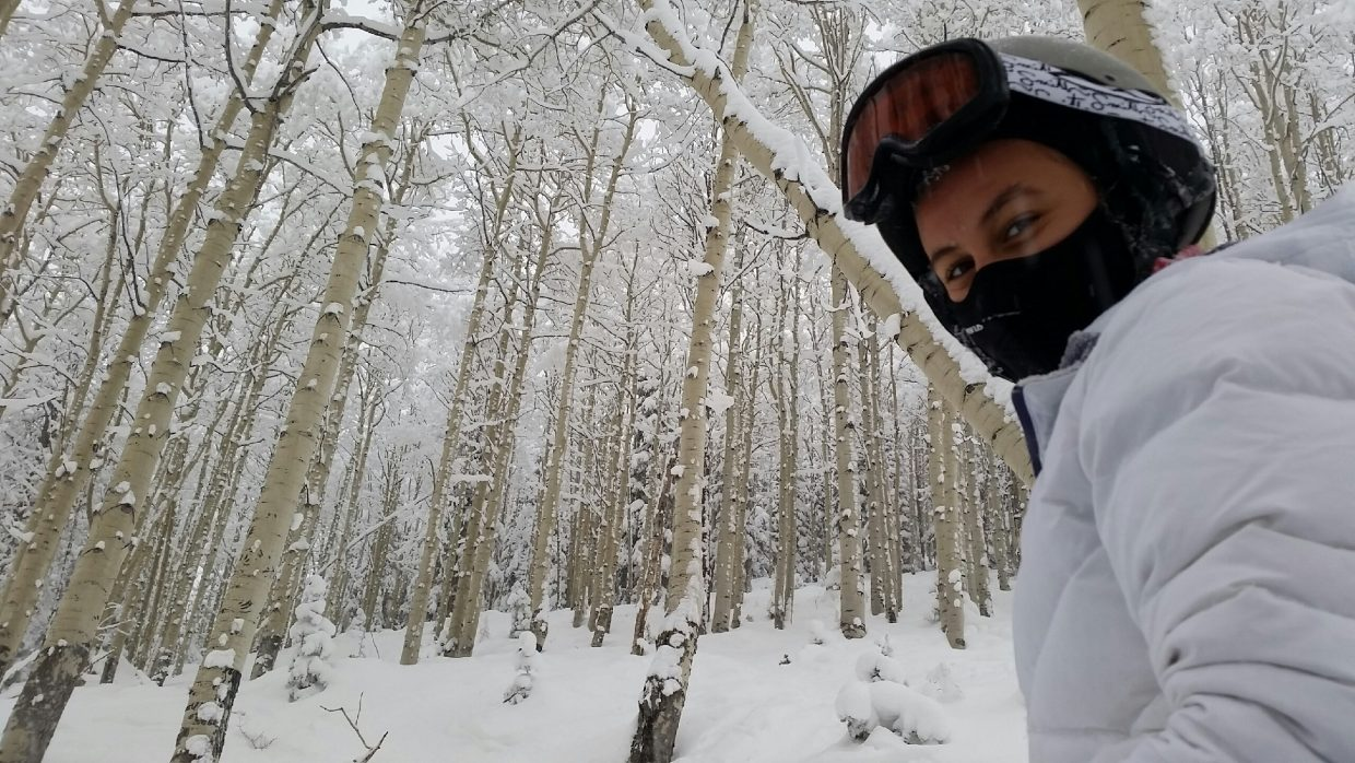 Kalli Brown, a seventh-grader visiting Steamboat Springs with her family from St. Louis, enjoyed skiing powder Sunday. Submitted by: Lisa Schlichtman