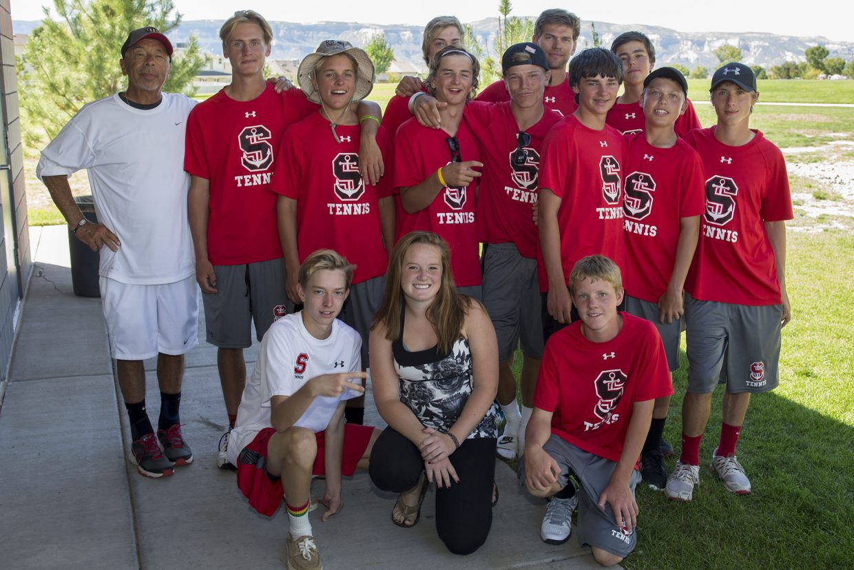 Pictured is the Steamboat Sailors boys tennis team. Front row: River Fox-Welch, Hana Haggarty and Jack Bender. Back row: Don Toy, Troy DeJong, Matt White, Peter Wharton, Nick Mathews, Brit Walton, Louis Nijsten, Nolan Connell, Joe Borgerding, Charlie Smith and Max Lynch.