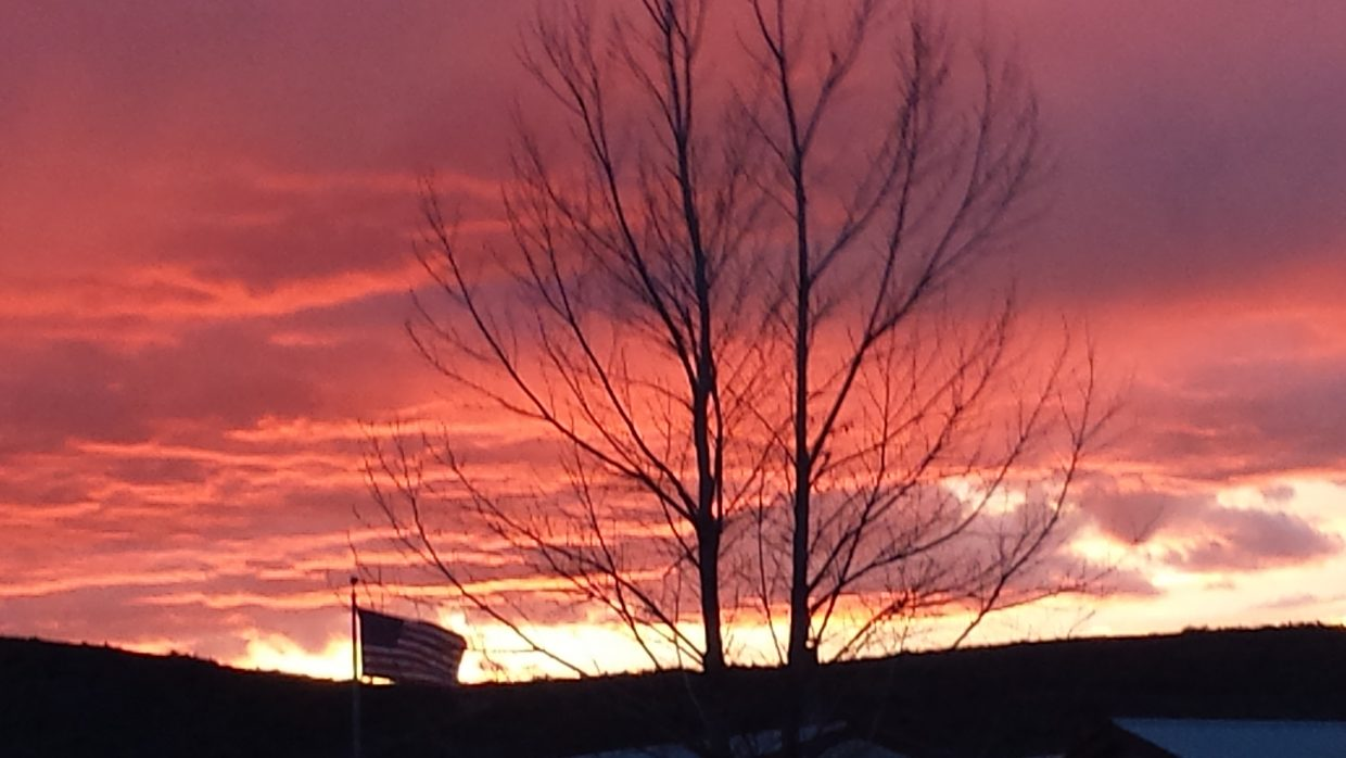 Patriotic Craig sunset on Thursday, April 30, 2015. Submitted by Dustin Stratton.