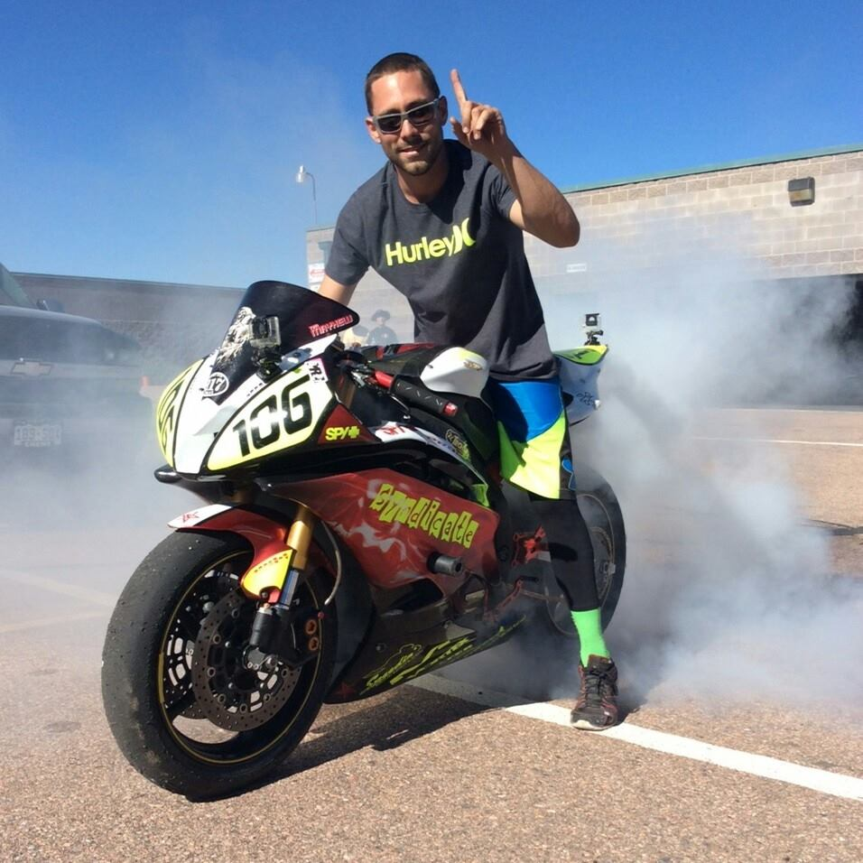 Tim Mayhew, a 2005 SSHS graduate, poses for a picture during a Motorcycle Roadracing Association event earlier this year.