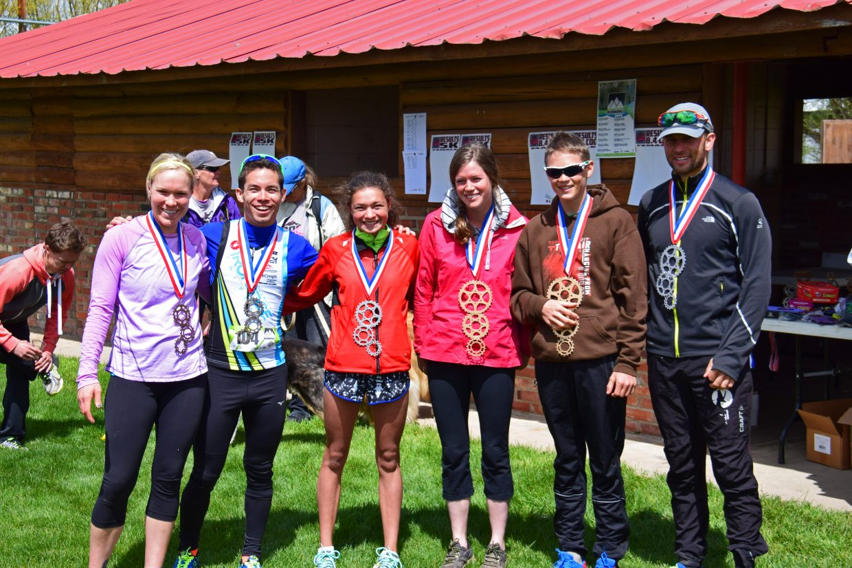 2015 Hayden Cog Run, 8.4 mile, podium finishers. Submitted by David Torgler.