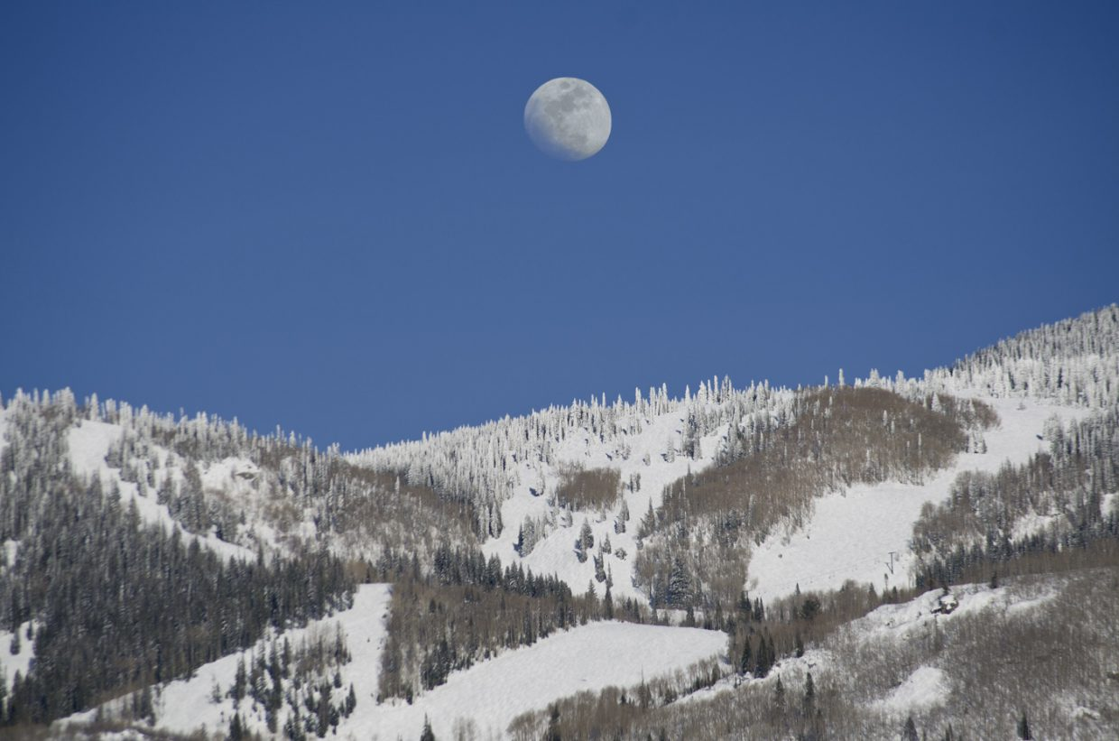 Moon rise over Mt. Werner. March 20th, 2016. Submitted by Matthew Grasse.