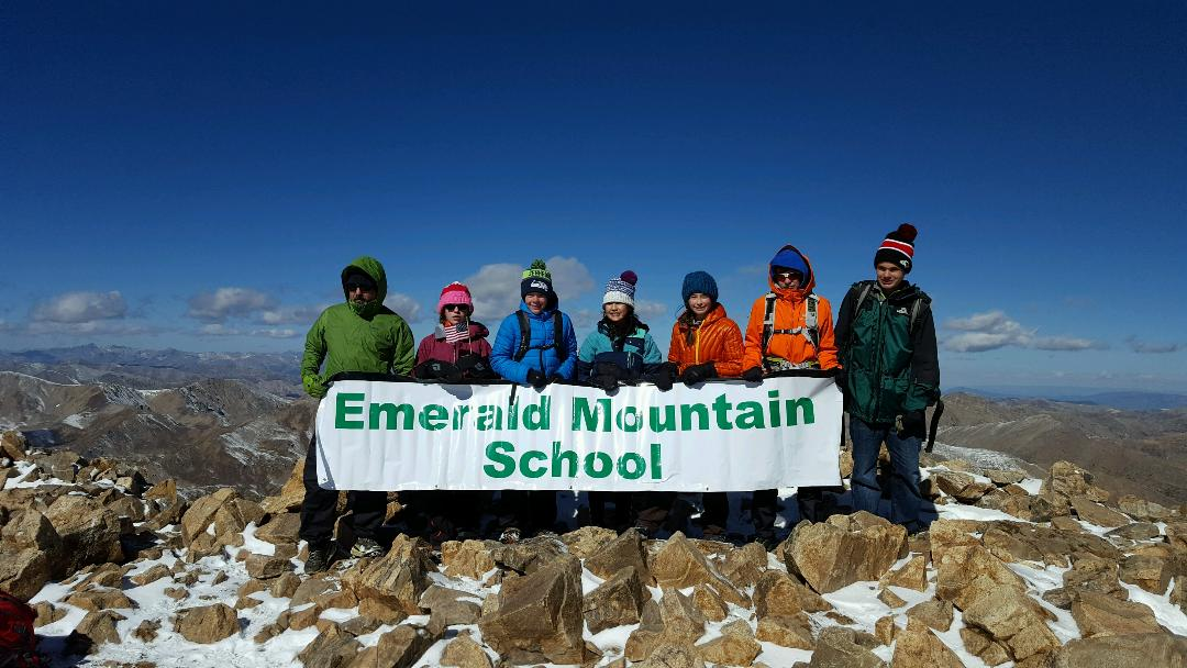 Each fall, Emerald Mountain School's eighth-graders climb Mount Elbert, Colorado's highest peak. On Sept. 15, the six eighth-graders all summitted, in spite of cold weather and hiking through snow. The students camped in Leadville and got up at 4 a.m. to start the hike in the dark. They reached the summit mid-morning. Pictured, from left, are Dave Marrs, teacher and middle school outdoor education co-director, Eva Hermacinski, Finn Dresen, Piper Eivins, Aliyah Reimer, Thomas Faunce and Brady Fowler.