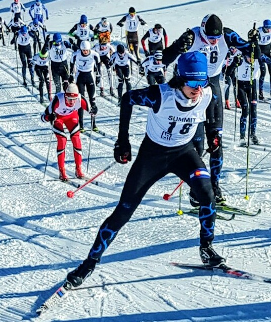 Steamboat Springs Nordic skier Wyatt Gebhardt, 17, takes the lead at a recent competition.