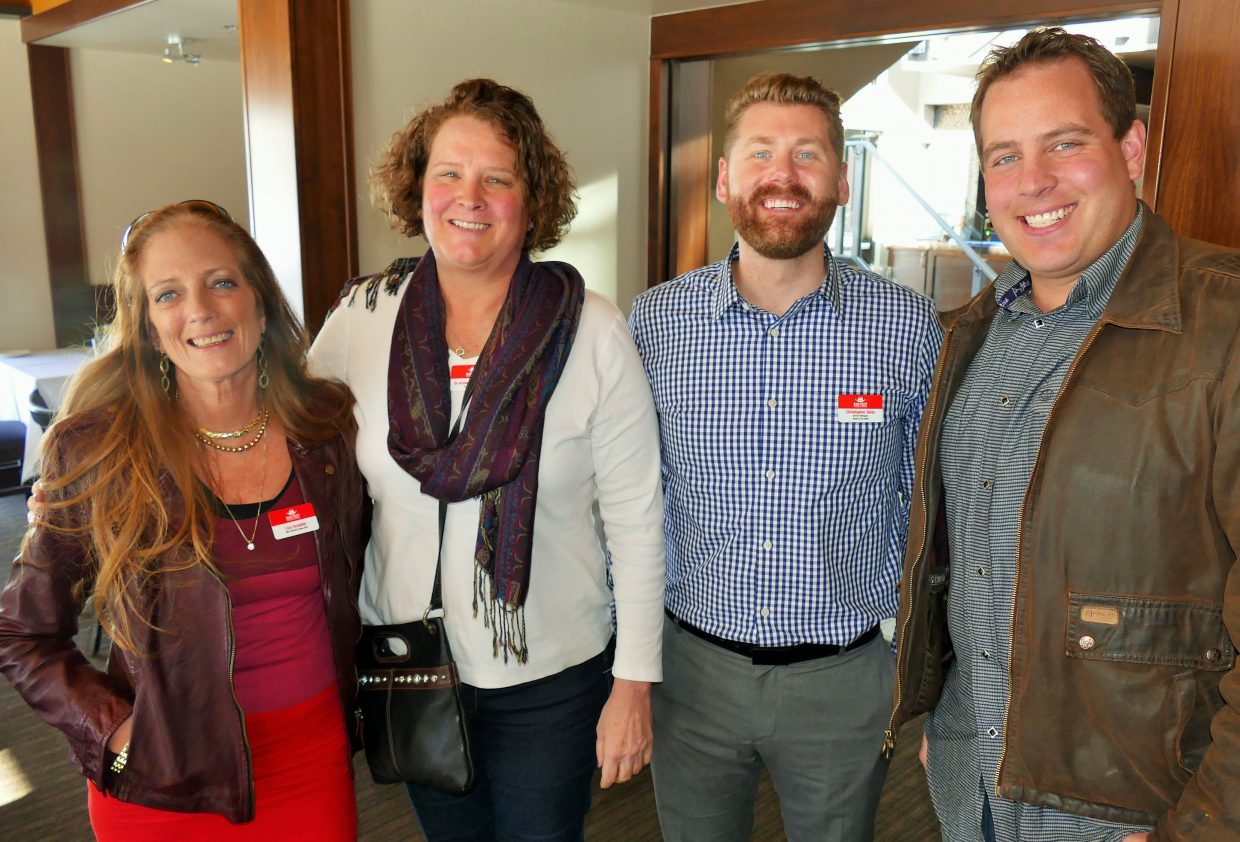 New members of the Main Street Steamboat Springs board, from left to right, Liza Scudder with Overland Trading Company, Dr. Kristen Van De Carr with Action Chiropractic, Christopher Slota with Bank of the West, and Chris Dillenbeck with FM Light & Sons. Main Street Steamboat Springs Annual Meeting. Submitted by Shannon Lukens